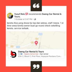 Review Pelanggan Kereta Sewa Kota kinabalu 6